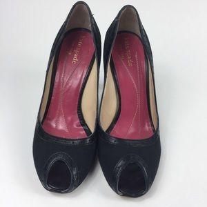 Kate Spade peep toe black stiletto heels.